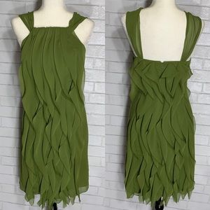 NWT White by Vera Wang Moss green Ruffle Dress